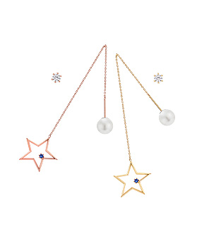 1044900 - <ER1116_DA05> [Silver Post] Unbalanced star rias earrings