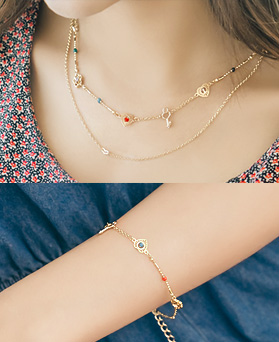1044913 - [Necklace + bracelet] ethnic cute set