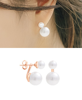 1044933 - <ER1128_DK10> [Silver Post] honor pearl two-way earrings