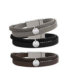 1044957 - <BC633_S> [Same-Day Shipping] [Stainless Steel] two line leather bracelet