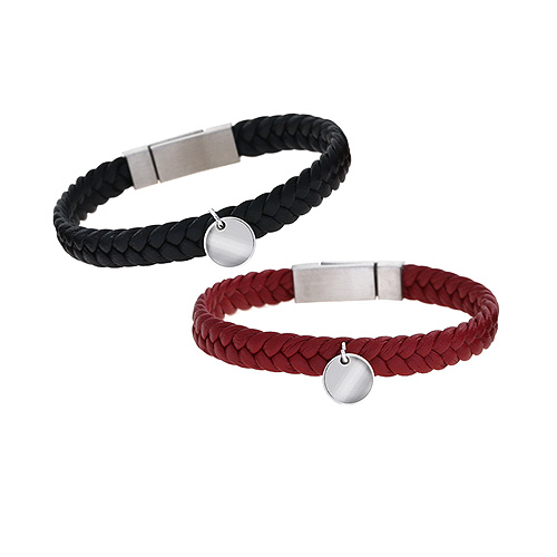 1044964 - <BC635_HG15> [Stainless Steel] Balance leather bracelet