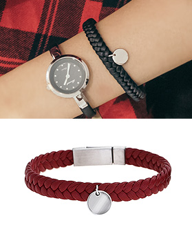 1044964 - <BC635_HG15> [Stainless Steel] Balance leather bracelet