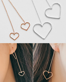 1044977 - <ER1140_BE06> [Same day] [Silver] Revolution heart long earrings