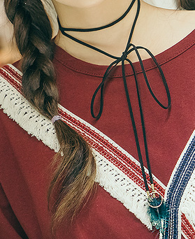 1044992 - <NE356_BB20> ethnic feather long necklace