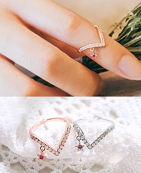 1044996 - <RI652_S> [Sold out] star lady ring