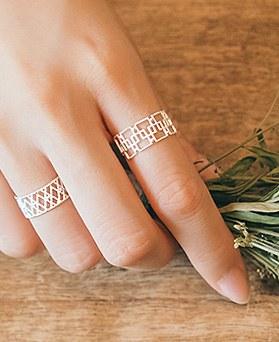 1045020 - <RI653_JG02> [Silver] lace triple ring