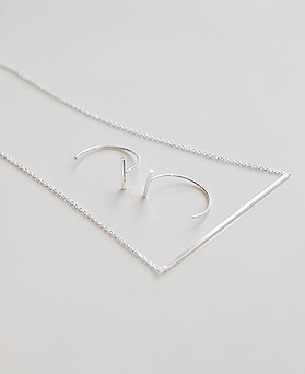 1045026 - <JS232_BD08> [necklace + earrings] [Silver] knit stick set