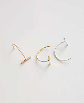 1045028 - <ER1147_BD08> [Silver] knit stick earrings
