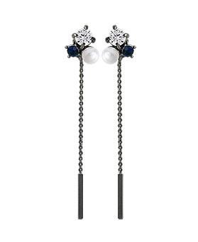 1045035 - <ER1151_DE12> [Silver Post] pixel pearl chain earrings