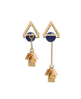 1045064 - <ER1162_CF07> triangle chain Unbalanced earrings
