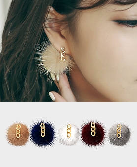 1045105 - <ER1180_CC11> Chain mink earrings