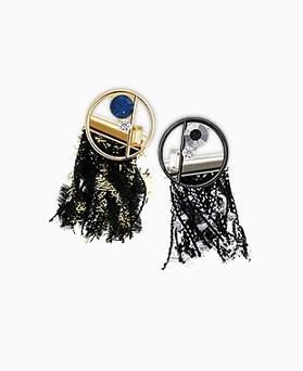 1045176 - <ER1192_CF15> tweed tassel earrings