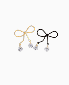 1045177 - <ER1190_CB12> [Silver Post] bell ribbon earrings