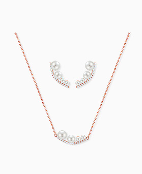 1045262 - <JS237_IH10> [necklace + earrings] [Silver Post] root pearl set