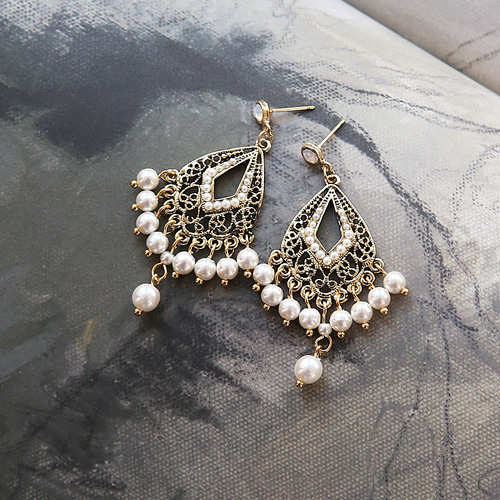 1045330 - <ER1221_DA27> [handmade] pearl antique chandelier earrings