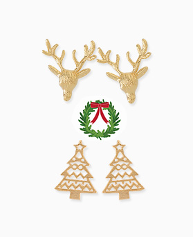 1045398 - <ER1240_GY02> [Silver Post] Rudolph and tree earrings