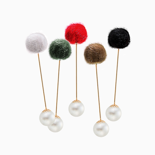 1045406 - <FI100_FH06> pompom pearl brooch
