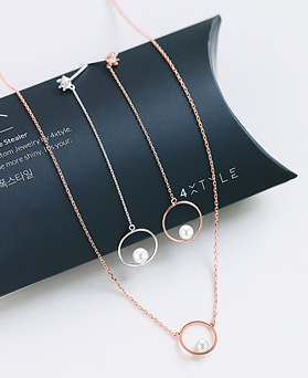 1045468 - <JS240_IH17> [earrings + necklace] [Silver] emotion pearl set