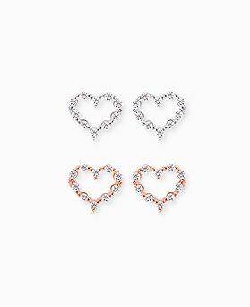1045491 - <ER1309_IH14> [Silver Post] Melting heart earrings