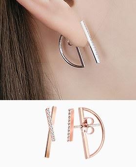 1045499 - <ER1250_GI27> [Silver Post] stick tribal earrings