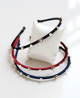 1045532 - <HA521_FB02> Velvet pearl star hairband