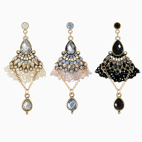 1045535 - <ER1256_S> [Out of stock] [clip type] lace chandelier earrings