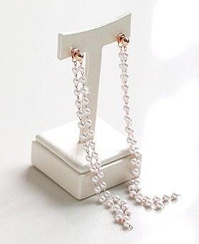 1045536 - <ER1259_GJ29> [Silver Post] double pearl long earrings