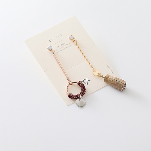 1045565 - <ER1280_DH00> [handmade] coin tassel Unbalanced earrings