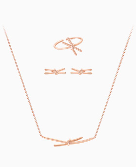 1045578 - <JS247_IF19> [necklace + earrings + ring] [Silver] simple song ribbon set