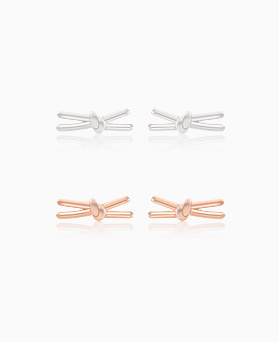 1045580 - <ER1307_IF19> [Silver] simple song ribbon earrings