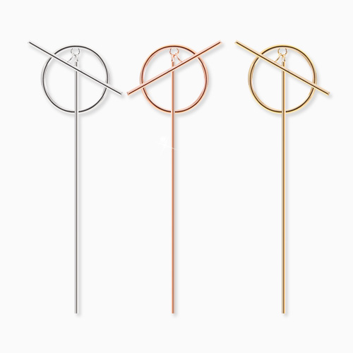1045595 - <ER1285_DH00> [Silver Post] Allied stick earrings