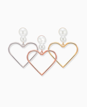 1045596 - <ER1277_DH00> [Silver Post] aloha heart earrings