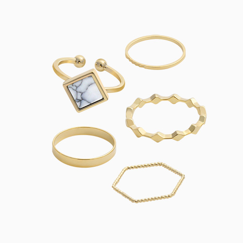 1045597 - <RI692_JE24> [5Piece 1set] marble simple ring
