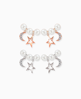1045598 - <ER1291_DH00> [Silver Post] Celina stars and moon earrings
