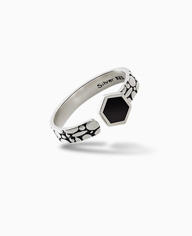 1045604 - <RI696_JC22> [Silver] onyx Hexagon ring