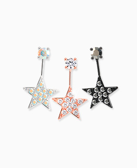 1045606 - <ER1292_DH00> [Silver Post] Mild star earrings