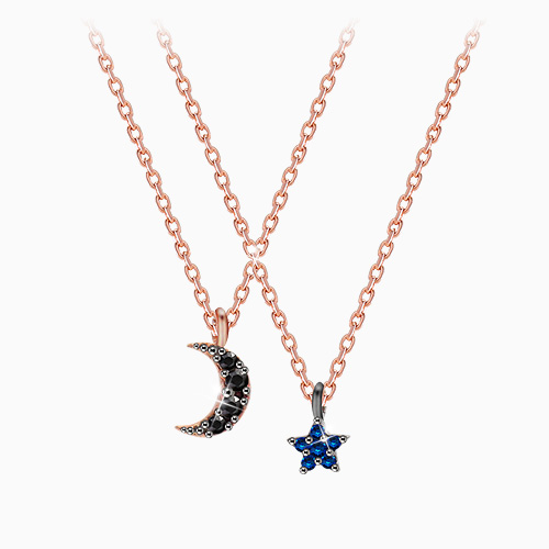 1045611 - <NE416_BC03> [Silver] Mini star Ann moon necklace