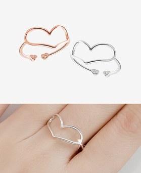 1045615 - <RI689_JE25> [Silver] Valentina heart line ring