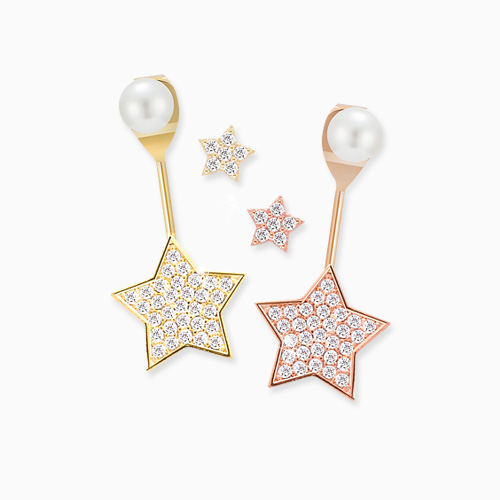 1045635 - <ER1286_DH00> [Silver Post] sugar star earrings