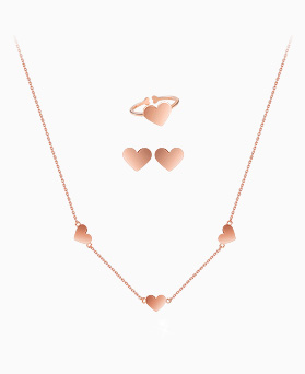 1045646 - <JS248_IG16> [necklace + earrings + ring] [Silver] Cream heart set