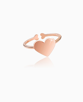 1045648 - <RI703_S> [Silver] Cream heart ring