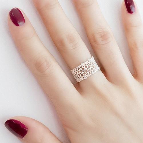 1045671 - <RI704_JG03> [Silver] lace fan ring