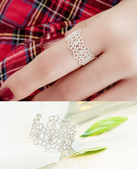 1045672 - <RI706_AA01> [Silver] lace Flower ring