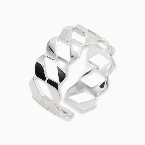 1045681 - <RI708_AF08> [Silver] wide shine twist ring