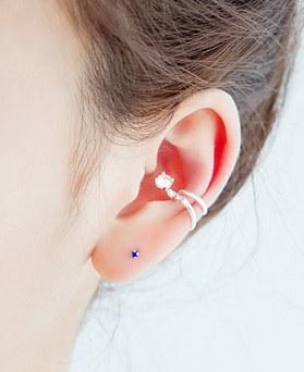 1045685 - <ER1336_CA12> [Silver] cubic neck tie ear cuff
