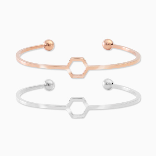 1045695 - <BC661_HB18> [Stainless Steel] Hexagon slim bangle bracelet