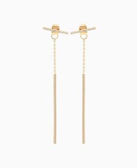 1045710 - <ER1325_GG11> [Silver Post] twin stick two-way earrings