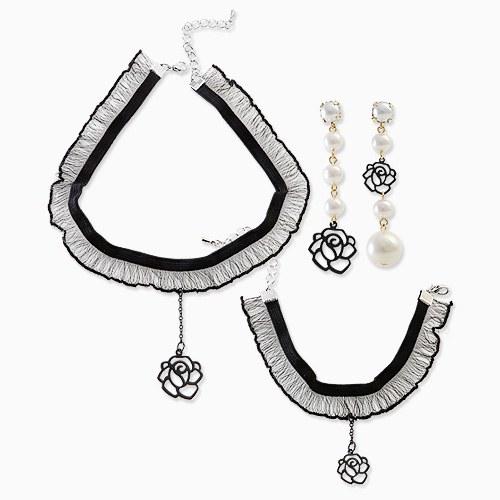1045733 - <JS250_IC03> [necklace + earrings + bracelet] [Silver Post] Rose lace choker set