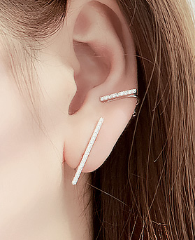 1045750 - <ER1340_DM04> [Same day delivery] [clip type] Unbalanced slim stick earrings