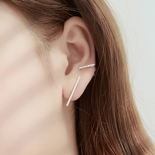 1045750 - <ER1340_DM01> [Same day delivery] [clip type] Unbalanced slim stick earrings